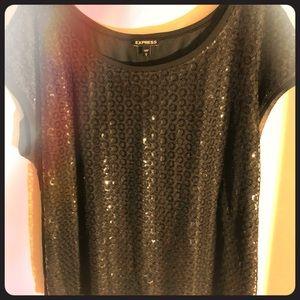 """""""Express"""" black short sleeve sequin shirt"""